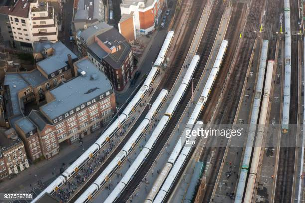 aerial view of london bridge station with trains and platforms, london - train stock photos and pictures