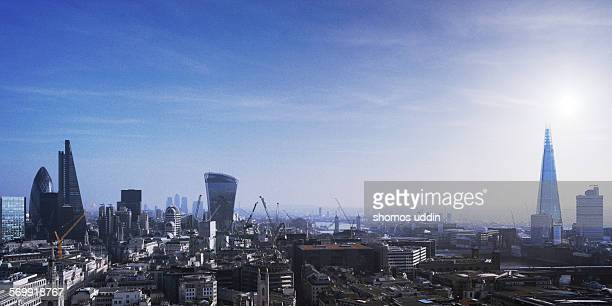 Aerial view of London city skyline