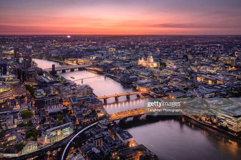 Aerial View of London Cityscape with River Thames at Twilight : Stock Photo