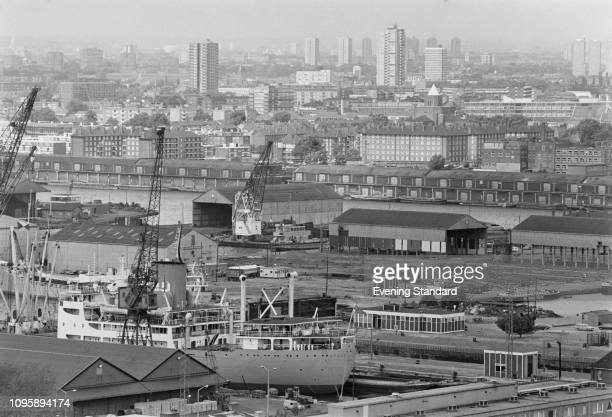Aerial view of London Docklands, UK, 17th July 1975.