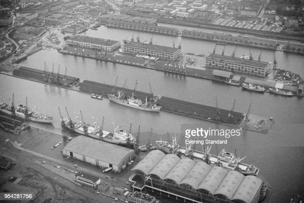 Aerial view of London Docklands, UK, 25th November 1977.