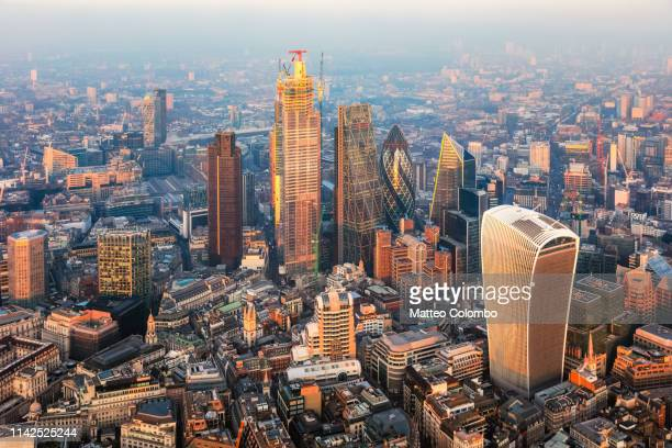 aerial view of london financial district at sunset, uk - 2019 stock pictures, royalty-free photos & images