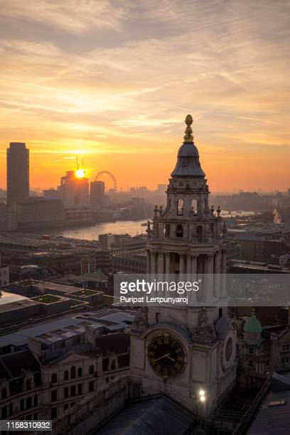 aerial view of london from st.paul's cathedral, united kingdom - river thames stock pictures, royalty-free photos & images