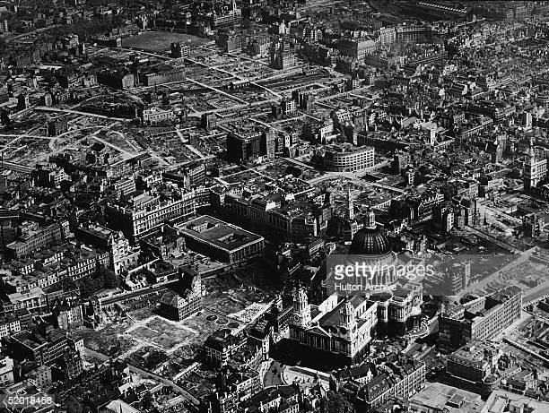 Aerial view of London including St Paul's Cathedral after the Blitz during World War II London England 1941