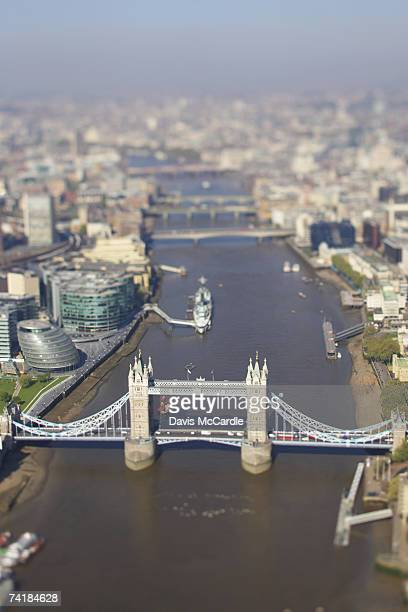 Aerial view of London looking along the river Thames with Tower Bridge in the foreground