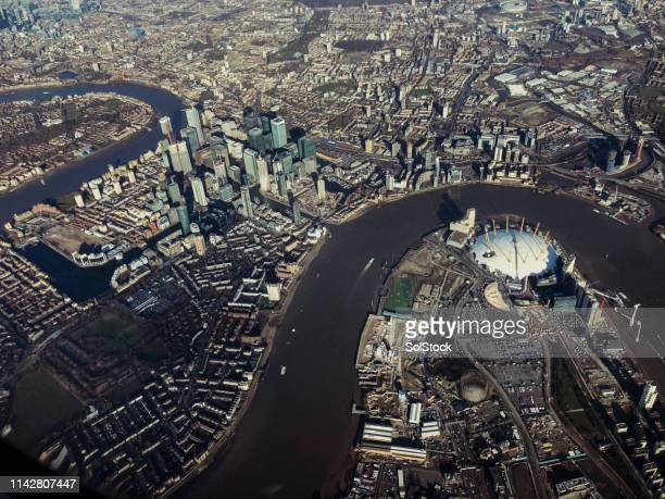 aerial view of london - the o2 england stock pictures, royalty-free photos & images
