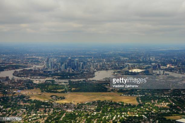 aerial view of london - east london stock pictures, royalty-free photos & images