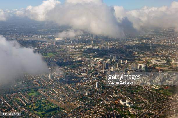 aerial view of london - olympic stadium london stock pictures, royalty-free photos & images