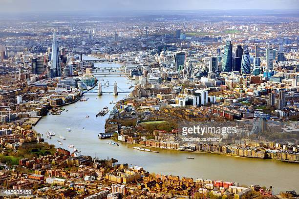 aerial view of  london - river thames stock pictures, royalty-free photos & images