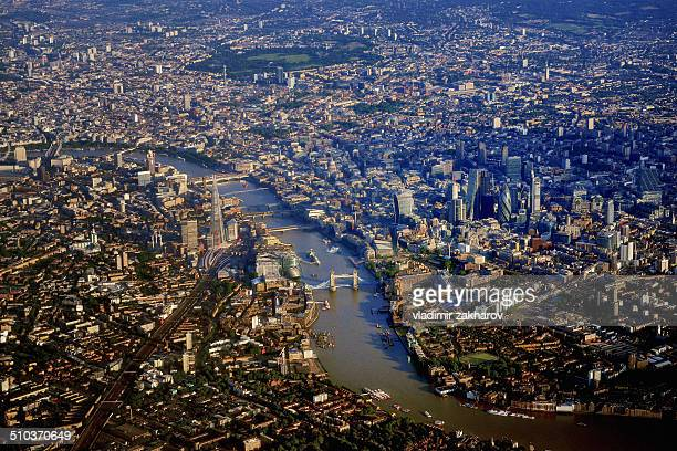 aerial view of london - テムズ川 ストックフォトと画像