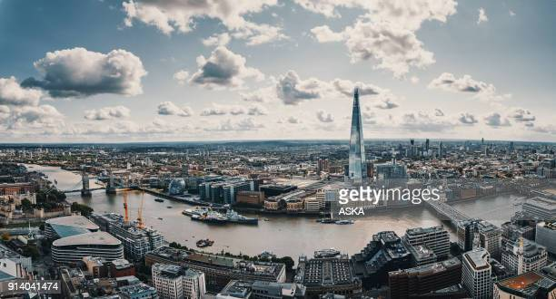 aerial view of london - london england stock pictures, royalty-free photos & images