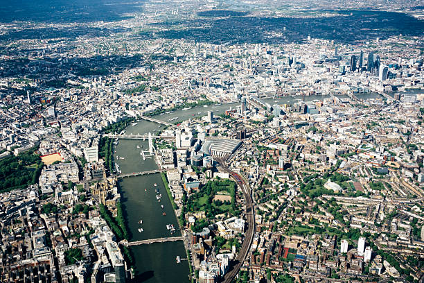 Aerial View Of London, River Thames, London To Westminster Bridge Wall Art