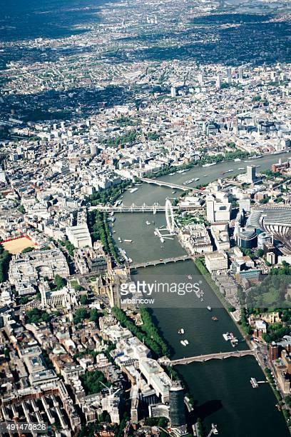 Aerial view of London, River Thames, Waterloo to Lambeth Bridge