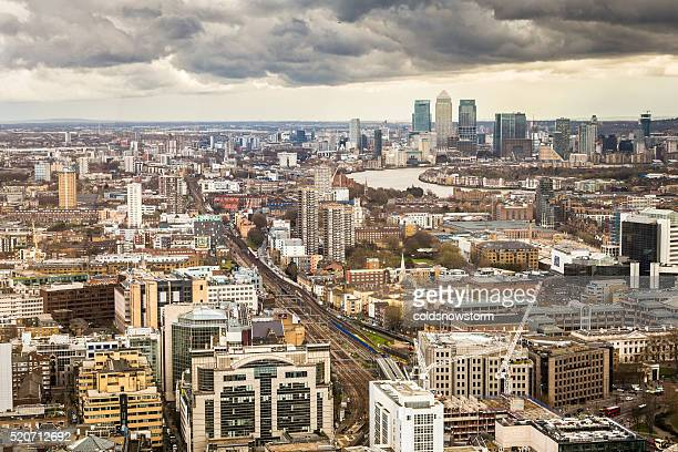 Aerial view of London Skyline and Canary Wharf