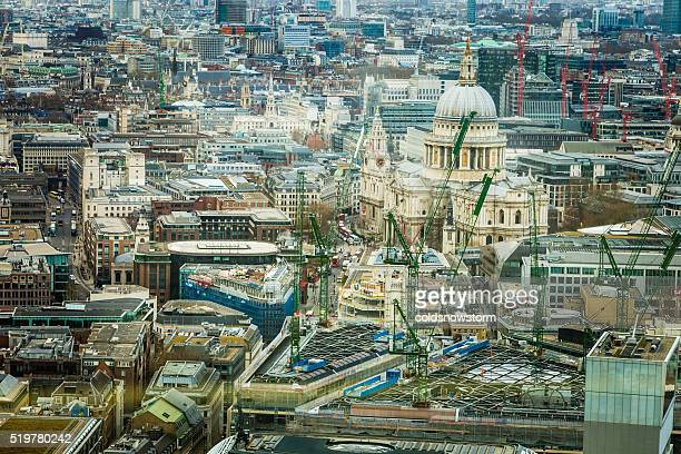 Aerial view of London Skyline and St Paul's Cathedral