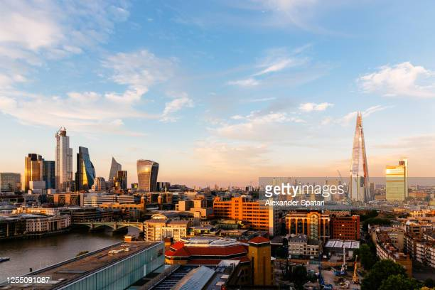 aerial view of london skyline at sunset, uk - central london stock pictures, royalty-free photos & images