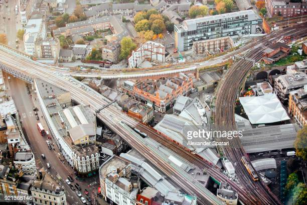 Aerial view of London South Bank with railroad junction and Borough Market