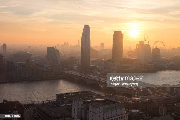 aerial view of london, united kingdom - morning stock pictures, royalty-free photos & images