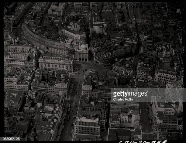 Aerial view of london urban landmarks Curving buildings distinguish the fine shopping district of Regent Street leading towards Picadilly Square...
