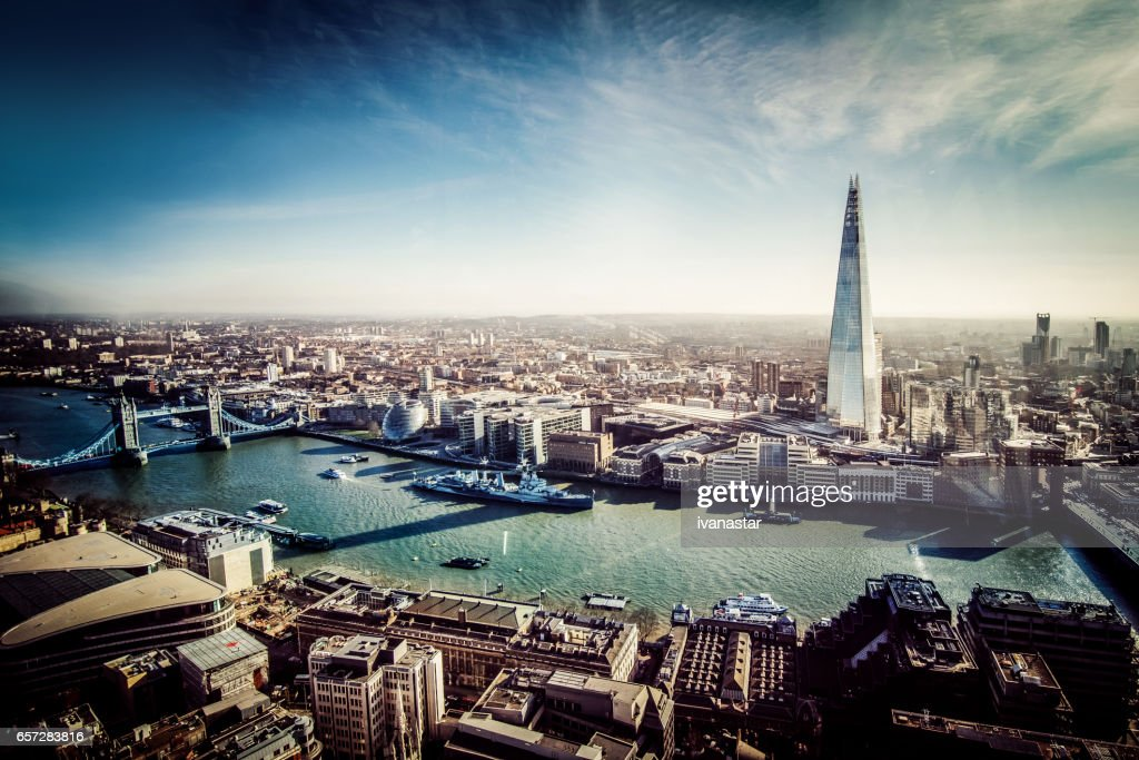 Aerial View of London with Shard and River Thames : Stock Photo