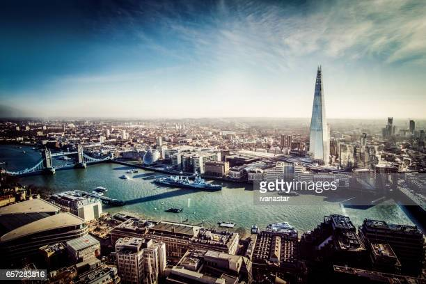 aerial view of london with shard and river thames - london bridge stock photos and pictures