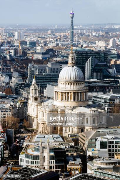 Aerial view of London with St. Paul's Cathedral