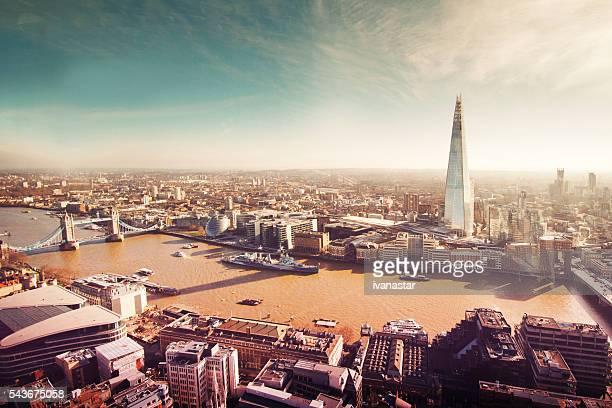 Vista aérea de Londres com o caco, retro, grão de filme
