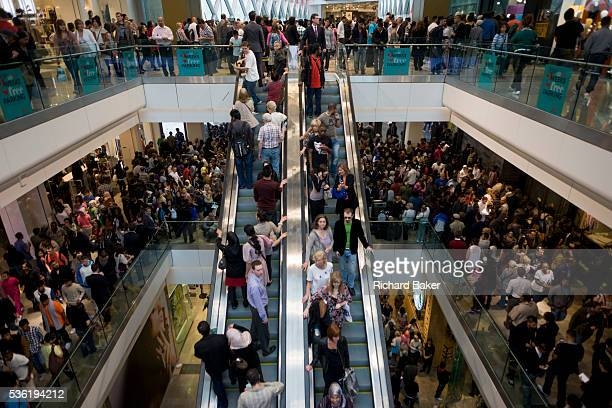 Aerial view of Londoners crowding inside during the opening day of the Westfield Stratford shopping mall Situated on the fringe of the 2012 Olympic...