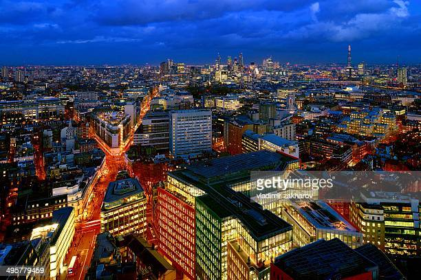 aerial view of london's west end at twilight - holborn stock pictures, royalty-free photos & images