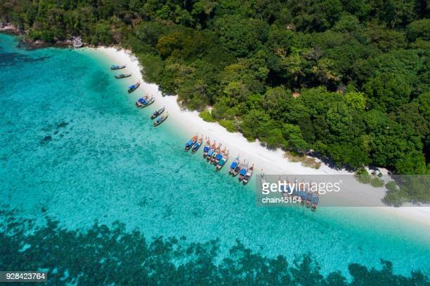 Aerial view of long tail boat park on tropical island beach, palm, coconut among clear ocean. This aerial view from Lipe Island, beautiful beach and island in south of Thailand. Blue ocean with coral.