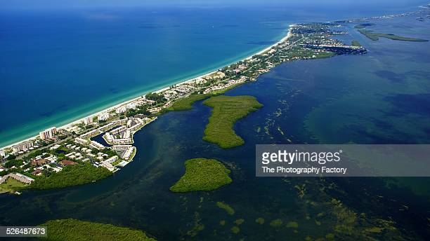 aerial view of longboat key, florida - barrier_islands stock pictures, royalty-free photos & images