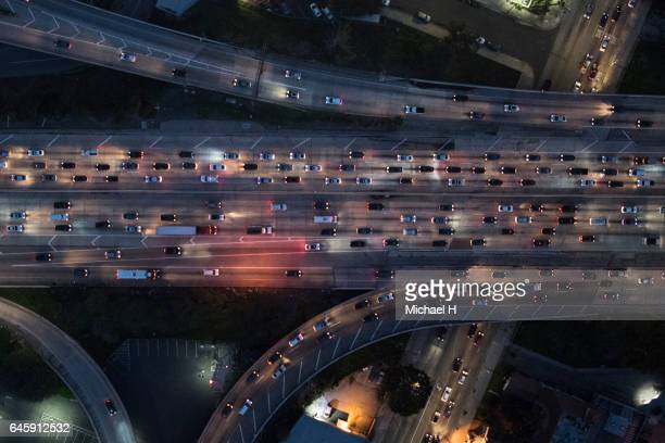 Aerial view of Los Angeles arterial roads at twilight time