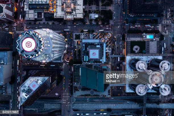 Aerial view of Los Angeles city buildings at twilight time