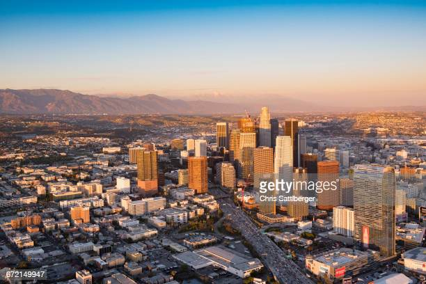 aerial view of los angeles cityscape, california, united states - mount baldy stock photos and pictures