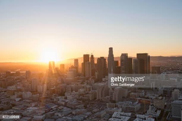 aerial view of los angeles cityscape, california, united states - city of los angeles fotografías e imágenes de stock