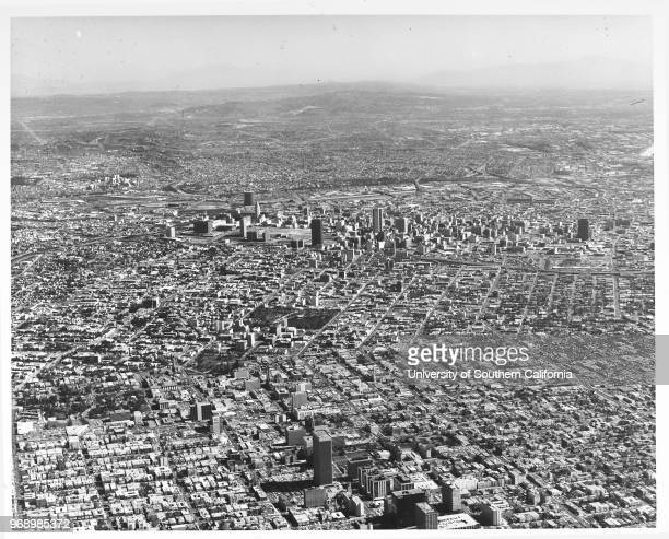 Aerial view of Los Angeles looking east from Wilshire Boulevard Business district, Los Angeles, California, early to mid twentieth century.