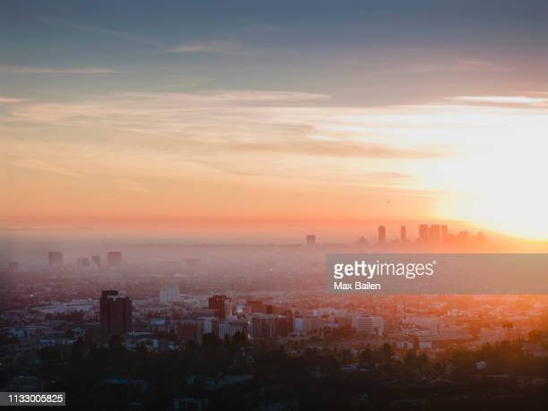 aerial view of los angeles - smog stock pictures, royalty-free photos & images
