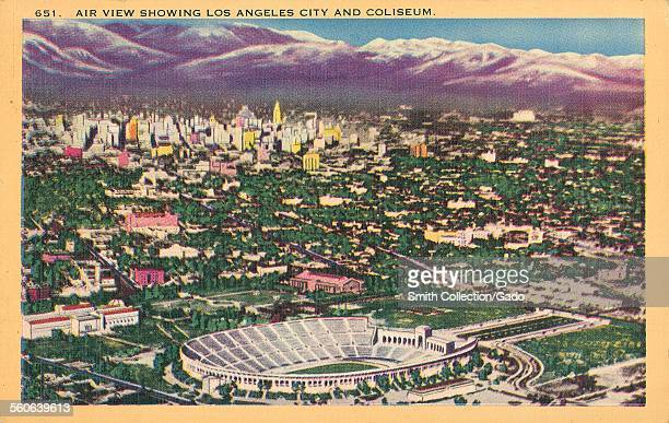 Aerial view of Los Angeles showing coliseum sports venue and hills skyline Los Angeles California 1935