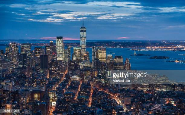 aerial view of lower manhattan and tribeca - new york - washington square park stock pictures, royalty-free photos & images