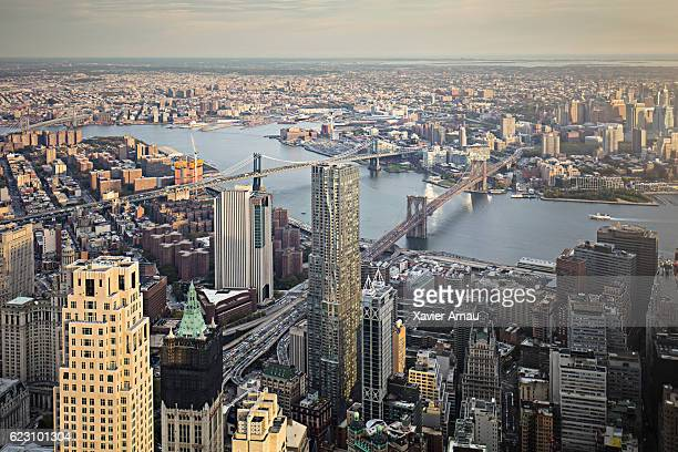 Aerial view of Lower Manhattan financial district