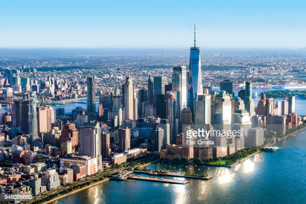 aerial view of lower manhattan. new york - one world trade center stock pictures, royalty-free photos & images