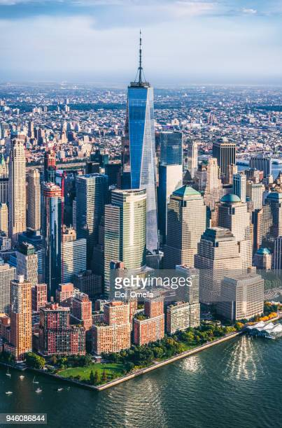 aerial view of lower manhattan. new york - world trade center manhattan stock pictures, royalty-free photos & images