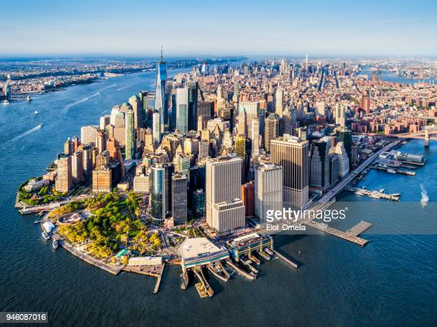 aerial view of lower manhattan. new york - orizzonte urbano foto e immagini stock