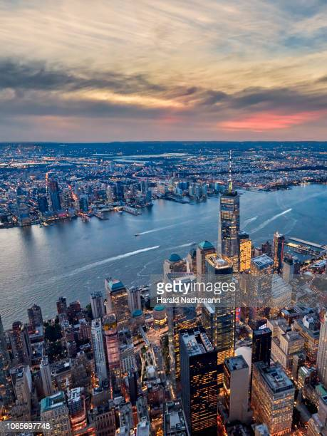 aerial view of lower manhattan with one world trade center, financial district and hudson river, new york city, new york, united states - river hudson stock pictures, royalty-free photos & images