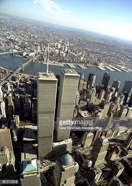 Aerial view of lower Manhattan with the World Trade Center twin towers