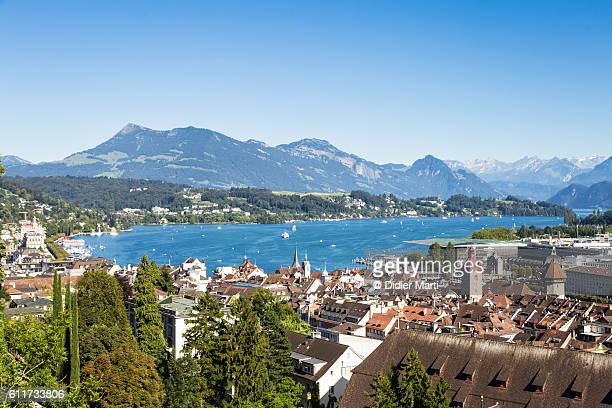 Aerial view of Lucerne city and Lucerne lake in Switzerland.