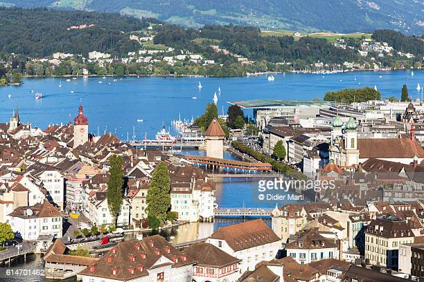 Aerial view of Lucerne old town in Switzerland