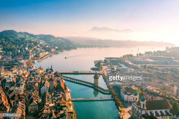 aerial view of lucerne old town - switzerland stock pictures, royalty-free photos & images