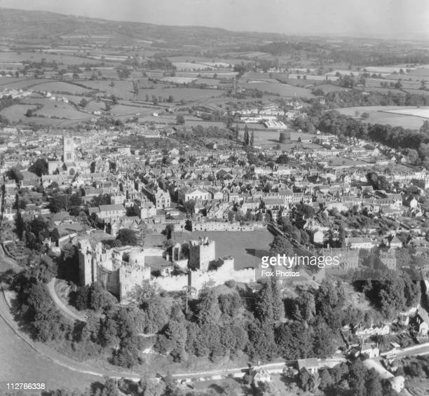 Aerial view of Ludlow Shropshire showing the castle and the town circa 1960