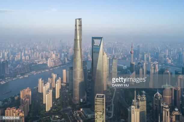 aerial view of Lujiazui in Shanghai